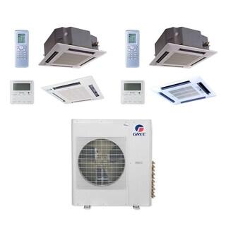 Gree MULTI42CCAS208 - 42,000 BTU Multi21+ Dual-Zone Ceiling Cassette Mini Split A/C Heat Pump 208-230V (18-24) - A/C & Heater