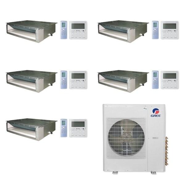 Gree MULTI36CDUCT501-36,000 BTU Multi21+ Penta-Zone Concealed Duct Mini Split A/C Heat Pump 208-230V(9-9-9-9-12) - A/C & Heater