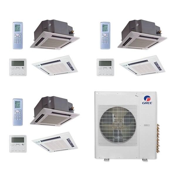 Gree MULTI42CCAS311 - 42,000 BTU Multi21+ Tri-Zone Ceiling Cassette Mini Split A/C Heat Pump 208-230V (12-18-18) - A/C & Heater