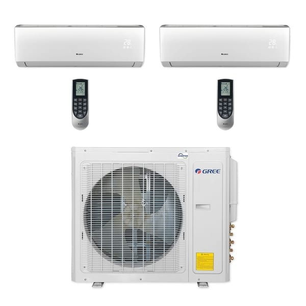 Gree MULTI30CVIR204 - 30,000 BTU Multi21+ Dual-Zone Wall Mount Mini Split A/C Heat Pump 208-230V (12-12) (A/C & Heater)