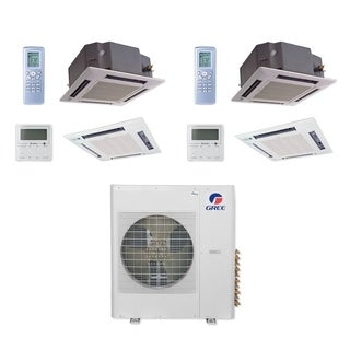 Gree MULTI42CCAS204 - 42,000 BTU Multi21+ Dual-Zone Ceiling Cassette Mini Split A/C Heat Pump 208-230V (12-12) - A/C & Heater