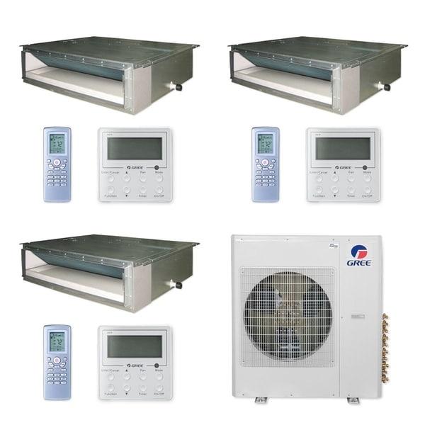Gree MULTI42CDUCT301 - 42,000 BTU Multi21+ Tri-Zone Concealed Duct Mini Split A/C Heat Pump 208-230V (9-9-12) - A/C & Heater