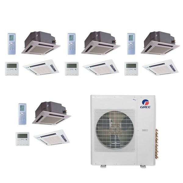 Gree MULTI42CCAS407-42,000 BTU Multi21+ Quad-Zone Ceiling Cassette Mini Split A/C Heat Pump 208-230V(12-12-12-12) - A/C & Heater