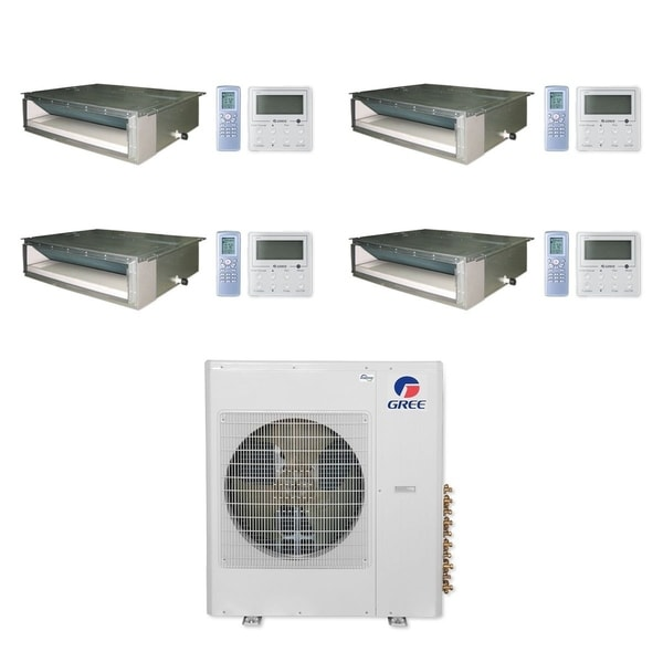 Gree MULTI36CDUCT405-36,000 BTU Multi21+ Quad-Zone Concealed Duct Mini Split A/C Heat Pump 208-230V (9-12-12-12) - A/C & Heater