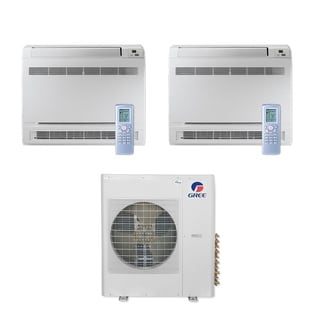 Gree MULTI42CCONS207 - 42,000 BTU Multi21+ Dual-Zone Floor Console Mini Split A/C Heat Pump 208-230V (18-18) - A/C & Heater