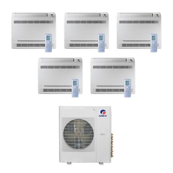 Gree MULTI42CCONS501-42,000 BTU Multi21+ Penta-Zone Floor Console Mini Split A/C Heat Pump 208-230V (9-9-9-9-12) - A/C & Heater