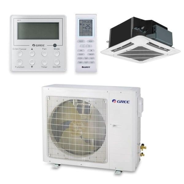 Gree UMAT24HP230V1AC-S - 24,000 BTU 18 SEER Ceiling Cassette Ductless Mini Split A/C Heat Pump 208-230V (A/C & Heater)