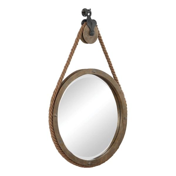 Uttermost Melton Round Pulley Mirror - Natural - 25x36.5x3.5