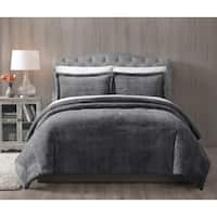 Asher Home Grey Faux Fur Bella 3-piece Comforter