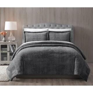 Asher Home Grey Faux Fur Bella 3-piece Comforter