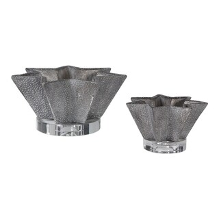 Uttermost Kayden Hammered Pewter Star Shaped Bowls (Set of 2)
