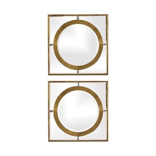 Link to Uttermost Gaza Gold Square Mirrors (Set of 2) - Antique Gold Similar Items in Mirrors