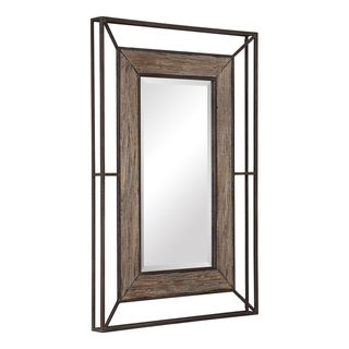 Uttermost Ward Dark Rust Bronze Open Framed Wood Mirror - 31.5x47x3