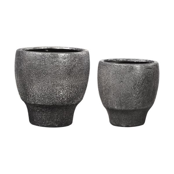 Uttermost Jayda Lava Black Bowls (Set of 2)