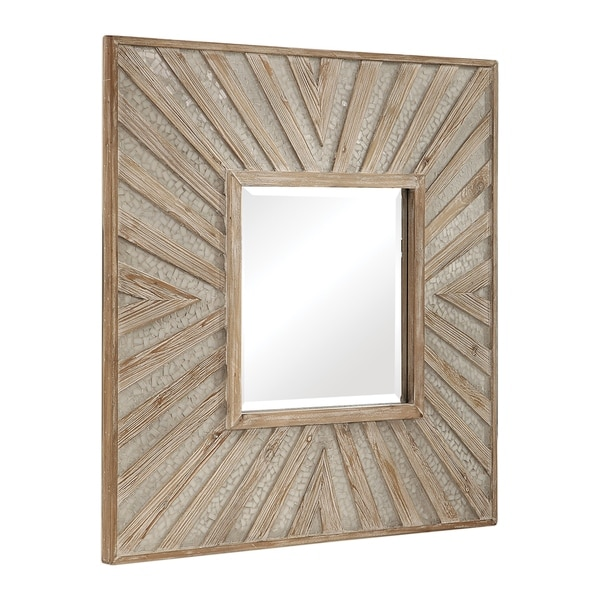 Uttermost Gideon Wood and Ivory Square Mirror
