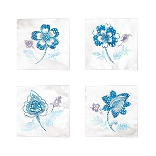 Wild Apple Portfolio 'Eastern Boho Peacock Blue' Canvas Art (Set of 4)