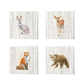 Emily Adams 'Into the Woods no Border on Barn Board' Canvas Art (Set of 4)