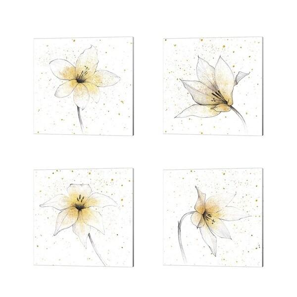 Avery Tillmon 'Gilded Graphite Floral' Canvas Art (Set of 4)