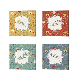 Janelle Penner 'Blooming Thoughts Flower' Canvas Art (Set of 4)
