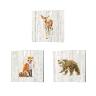 Emily Adams 'Into the Woods no Border on Barn Board' Canvas Art (Set of 3)