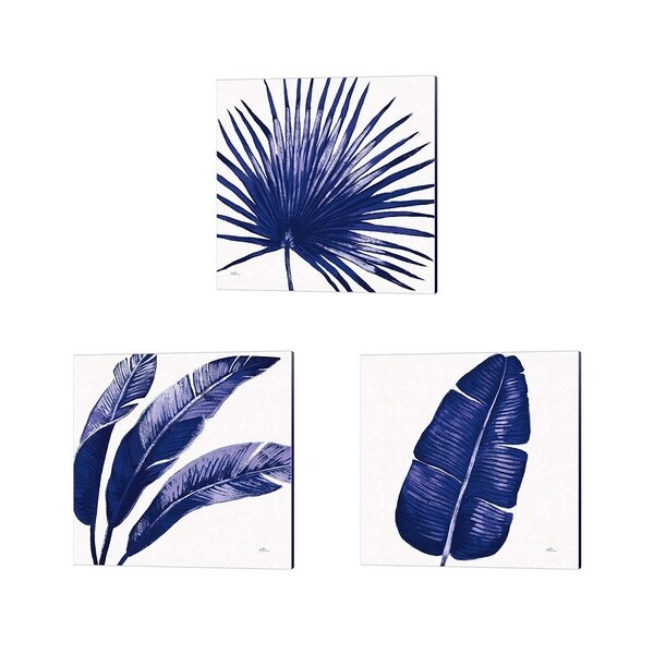 Janelle Penner 'Welcome to Paradise Indigo A' Canvas Art (Set of 3)