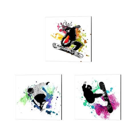 Sports Mania 'Snowboarder Watercolor Splash' Canvas Art (Set of 3)