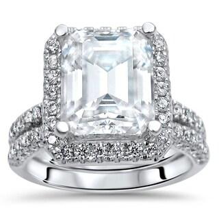 Link to 4 & 4/5 ct Emerald Cut Moissanite Diamond Bridal Set Engagement Ring 14k White Gold Similar Items in Rings