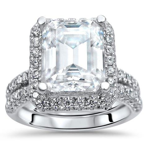 4 & 4/5 ct Emerald Cut Moissanite Diamond Bridal Set Engagement Ring 14k White Gold