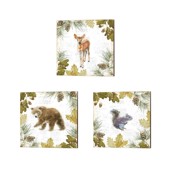 Emily Adams 'Into the Woods B' Canvas Art (Set of 3)