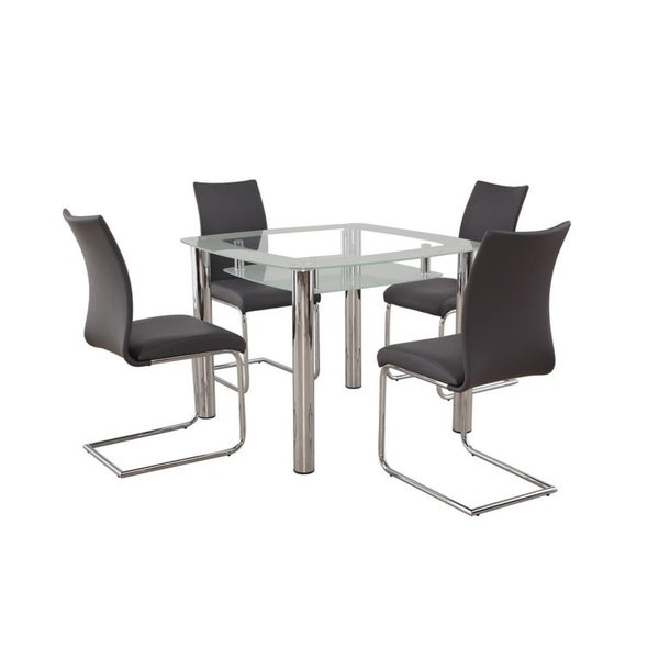 Shop New Spec Small Glass Dining Room Set Of 5 Pieces In Grey Color