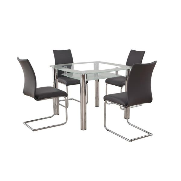 New Spec Small Gl Dining Room Set Of 5 Pieces In Grey Color