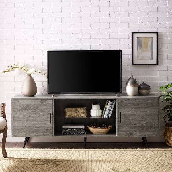 Mid Century Modern TV Stand Grey