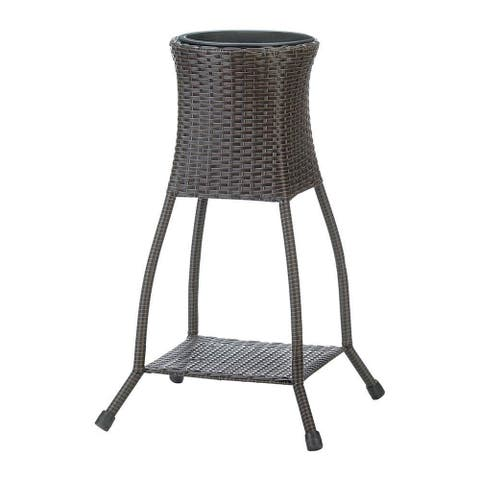 Hillsdale Wicker Plant Stand with Display Shelf