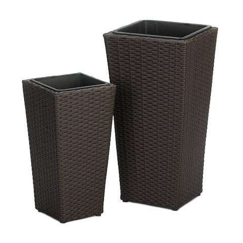 Hillsdale Wicker Tall Plant Holders - Set of 2