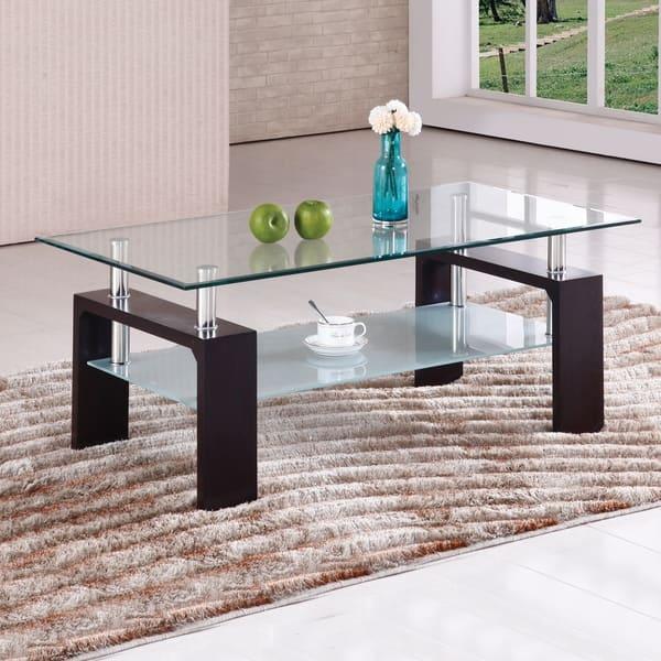 Home Source Brittaney Gl Chrome Coffee Table Mahogany 43 X 23 17