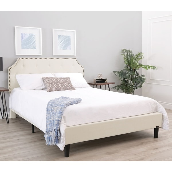 Abbyson Elyse Ivory Tufted Upholstered Bed. Opens flyout.