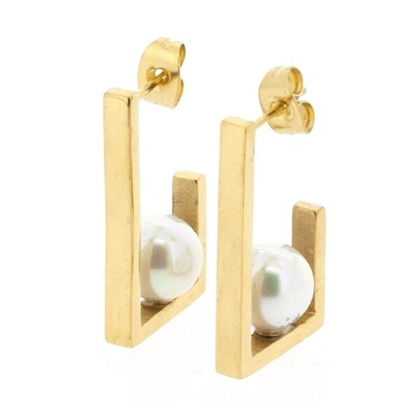 79f8449b5 Shop Stainless Steel Hypoallergenic Pearl Accented Flat Bar Earrings for  Women, 18k Gold-Plated - Free Shipping On Orders Over $45 - Overstock -  25612843