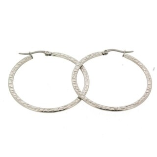 Stainless Steel Hypoallergenic Snake Skin Pattern Perfect Hoop Earrings with Latch Back Closure for Women, (35mm Round), Silver