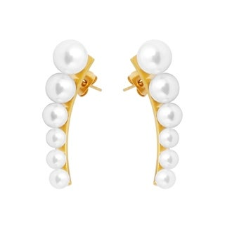 Stainless Steel Pearl Ear Cuffs in Pave Settings with Stud Closure for Women, 18k Gold-Plated