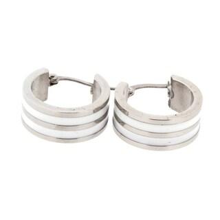 Stainless Steel Hypoallergenic Lead-Free Two-Toned Huggie Hoop Earrings with Latch-Back Closure, Silver