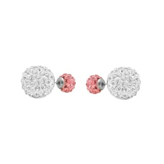 Stainless Steel Dual-Color Double Disco Ball Stud Earrings with Zirconia Diamonds and Ball Post Stud Closure, Silver+Pink