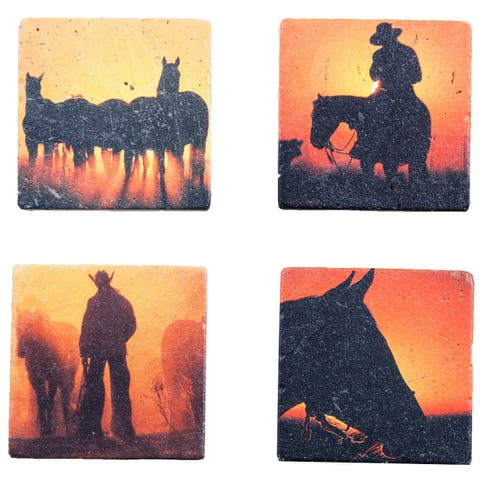 HiEnd Accents Cowboy coasters, Set of 4