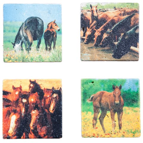 HiEnd Accents Horse Coasters, Set of 4