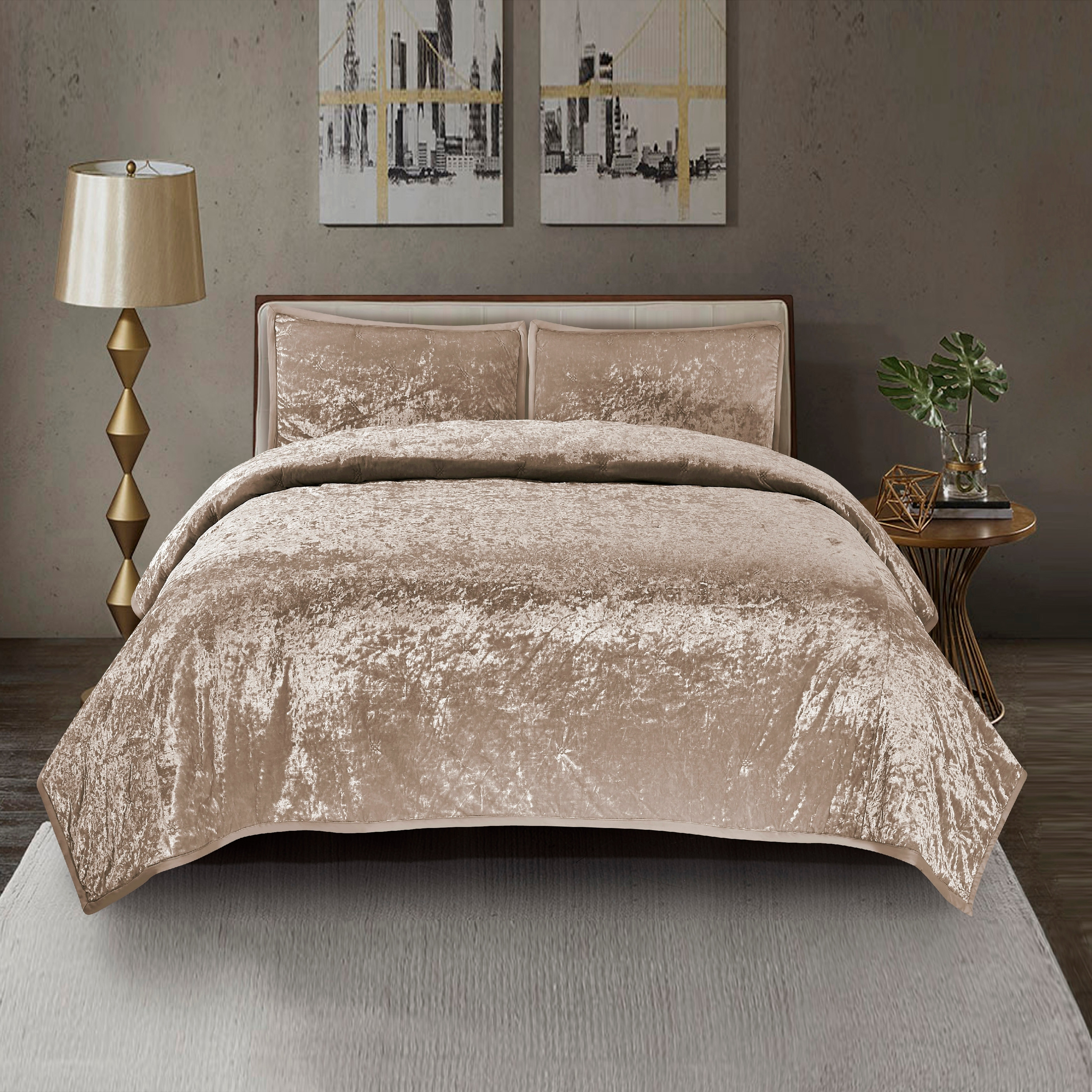 Mystique Velvet Quilt Set In Gold Overstock 25612924