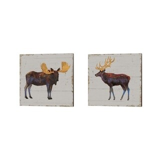 James Wiens 'Golden Nature on Wood' Canvas Art (Set of 2)