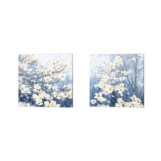 James Wiens 'Dogwood Blossoms Indigo' Canvas Art (Set of 2)