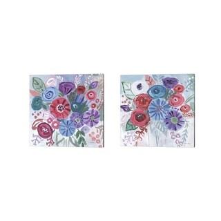Farida Zaman 'Floral Jewels' Canvas Art (Set of 2)