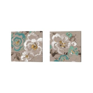 Pela 'Brushed Petals Teal' Canvas Art (Set of 2)