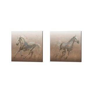 James Wiens 'Stallion on Leather' Canvas Art (Set of 2)