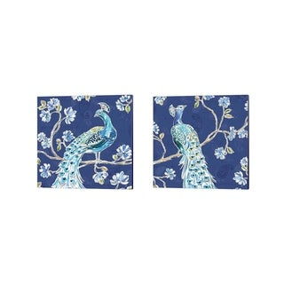 Daphne Brissonnet 'Peacock Allegory Blue' Canvas Art (Set of 2)